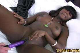 Black teen bitch toyed and fucked
