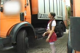 Schoolgirl gives public CFNM blowjob