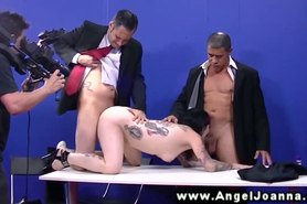 Angel Joanna blows the political candidates at their conference