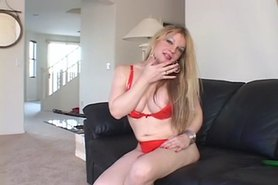 Super slut shemale solo anal toying & cum eating