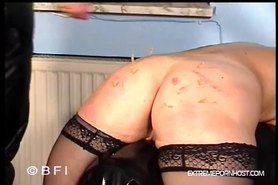 Obedient milf whipped, pinched and dildofucked