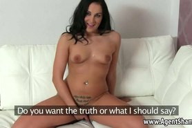 Brunette babe sucks and tugs her agents hard cock
