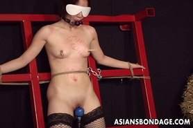 Elegant Asian gal tied up and whipped