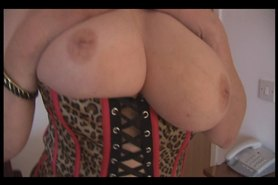 No Sound: Busty mature brunette with hairy pussy strips and spreads