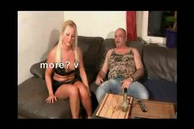 German Bitch fucked by Old Fat Guy and cheat her friend