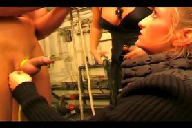 Slave gets tied up by two mistresses