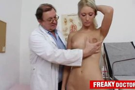 Gorgeous blonde Uma Zex weird pussy exam