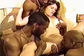 White girl knocked up by 10 black guys!
