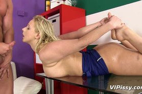 Blonde amateur showered with piss and jizz