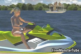 Foxy 3D cartoon blonde babe getting fucked on a boat
