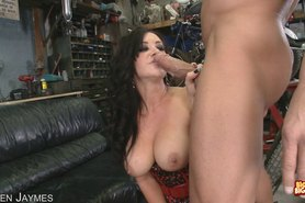 Beautiful Brunette Jayden Jaymes Chokes On A Huge Cock