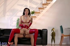 Latex stockings clad milf fucks