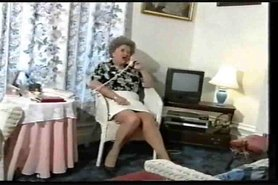 Chubby Old Granny Teases in Stockings
