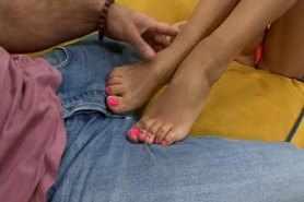 Very hot footjob and fuck by hungarian girl