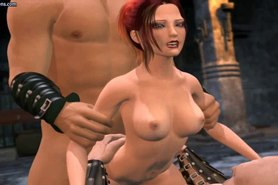 Animated redhead gets double drilled