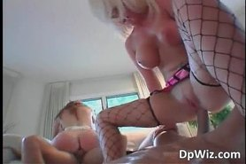 Three way sex action with busty slut whores