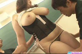 Plump and busty student fucked by two hung