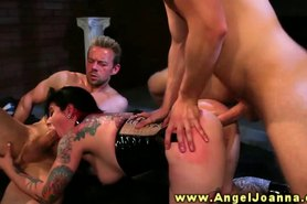 Angel Joanna assfucked while sucking cock