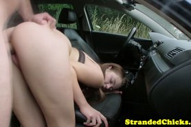 Hitch hiking teen loving outdoor bang