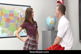 Small tits teen rides teachers cock