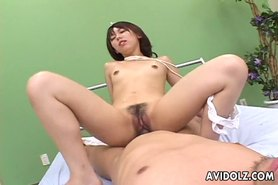 Classy Japanese chick gets her dark minge rammed and cream pied uncensored