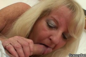 He screws blonde granny in black stockings