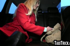 Classy amateur blonde sucks and fucks in a taxi