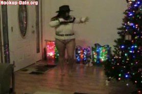 Brunette bbw amateur xmas stripping