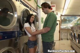Petite teen caught stealing drilled in laundromat
