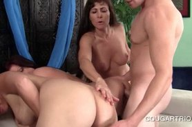Teen handsome dude fucking cougar slick pussies in a row