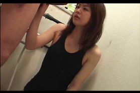 Japanese tramp giving a fine double blowjob in mens room