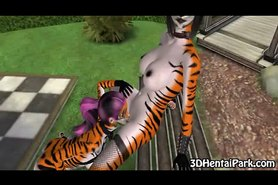 Two horny 3D furries going at it in a public park