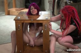 Lesbian dominatrix loves to flog and spank her sex slave