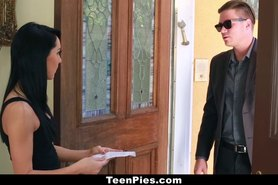 free porn video: Brunette teen sabrina banks gets fucked and filled by her landlord!