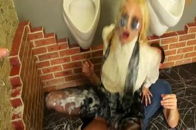 Dirty blond loves getting soaked with cum from the gloryhole
