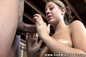 Amateur cumshot hottie stroking big cock