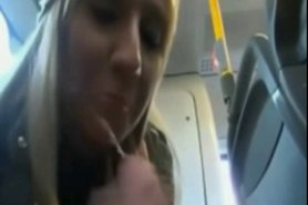 Hot blonde girl blowjob and swallow on public bus