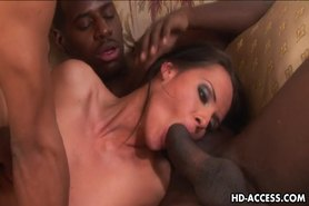 Sexy brunette loving fucking with black dudes