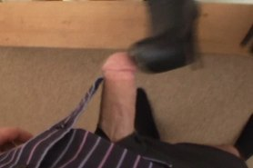 Hot bootjob and worship with cum on boots