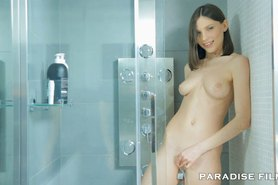 Beautiful shaved pink pussy Teen Orgasms in the Shower