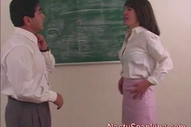 Girl plays naughty and gets spanking