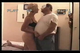 Mature chubby old man having fun with wife
