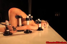 Lezdom blonde sub dildo fucked by domino