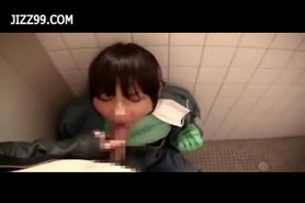 Mosaic: Cute cleaner gives geek blowjob in lavatory 02