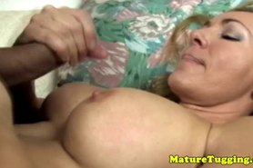 Blonde mature enjoys tit fuck session