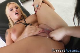 Busty lesbian gets fisted and fingered