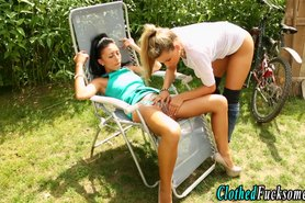 Clothed european glamour lesbians