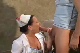 Nurse in white stockings fucks patient and gets a facial ST69
