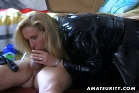 Amateur housewife homemade blowjob and handjob with cumshot