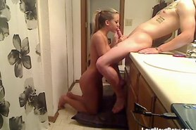 Cute teen getting nailed in the bathroom